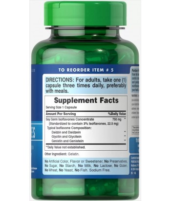 Puritan's Pride Non-GMO Soy Isoflavones 750 mg Product Label