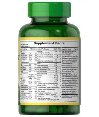 Puritan's Pride Green Source® Multivitamin & Minerals 60 cps Product Label
