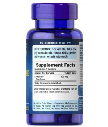 puritan's pride L-Arginine 500 mg Product Label