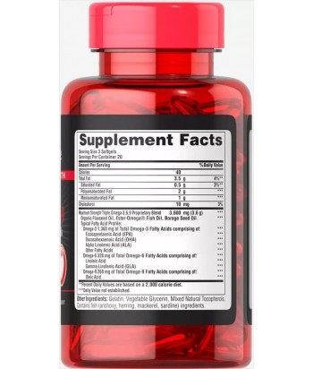 Puritan's Pride Triple Omega maximum strength Product Label