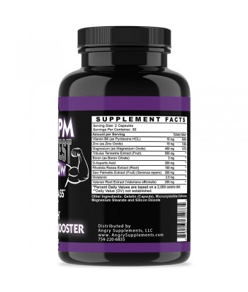 Angry Supplements MONSTER TEST PM, TESTOSTERONE BOOSTER SLEEP-AID Product Label
