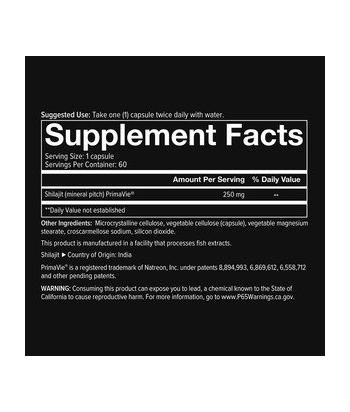 youtheory Men's Shilajit 250 mg 60Caps Product Label