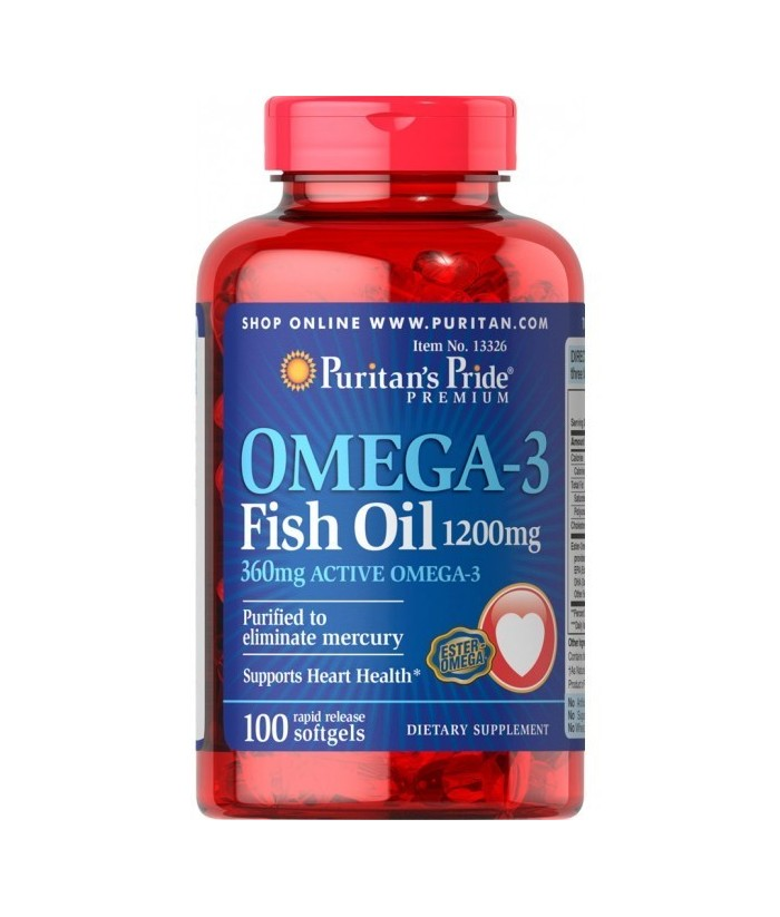 Fish Oil 1200 mg (360 mg Active Omega-3) 100 Softgels