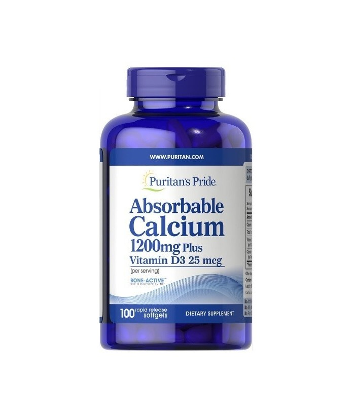 Absorbable Calcium  1200 mg with Vitamin D 25mcg 100 softgels