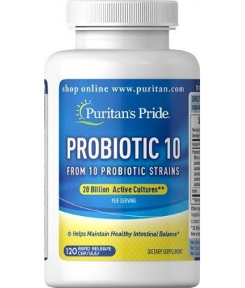 Puritan's Pride Probiotic 10 -  20 billion ( 120 Capsules) Product