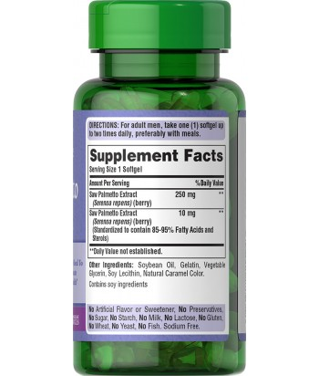 Puritan's Pride Saw Palmetto Extract - 90 Softgels Product Label