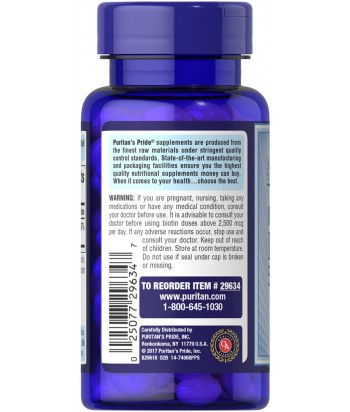 Puritan's Pride Biotin 5,000 mcg Product Label  - 60 Softgels