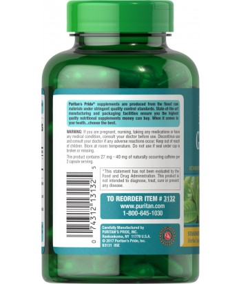 Puritan's Pride Gree Tea tablets - 315 mg - 100 tablets Product Label