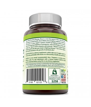 Herbal Secrets Maca 500 Mg 250 Veggie Capsules Product Label