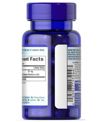 Puritan's Pride PQQ 20 mg Product Label